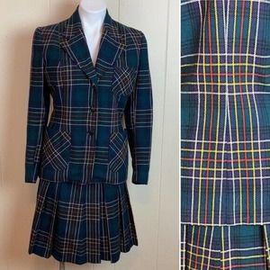 Vintage Nat Gordon Green Tartan Plaid Wool 2pc Skirt Suit Sz S/M